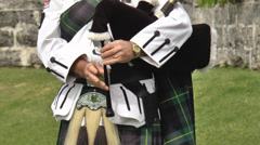 Scottish Pipers Hands Close Up Playing The Bagpipes Stock Footage