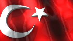 3D flag, Turkey, waving, ripple, Europe. Stock Footage