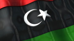 3D flag, Libya, waving, ripple, Africa, Middle East. Stock Footage