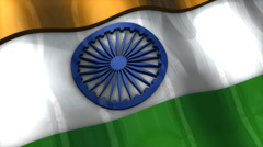 3D flag, India, waving, ripple, Asia. Stock Footage