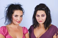 Women hairstyles and make up - stock photo