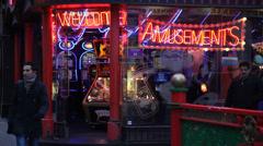 London, Amusements, corner of Chinatown - stock footage