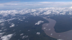 Aerial shot of Amazon river and jungle - Brazil Stock Footage