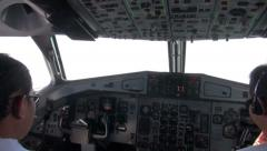 Cockpit of airplane with pilots - rare shot Stock Footage