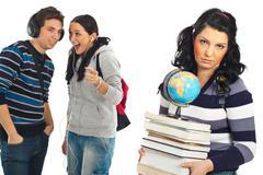 Students gossip and joke Stock Photos