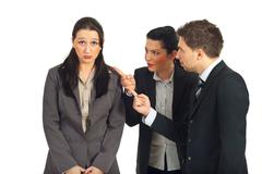 Two managers argue employer woman - stock photo