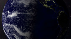 HD close planet earth rotation day to night as seen from orbit realistic Stock Footage