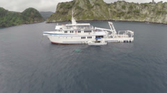 Aerial shot of diving boat - Cocos island. THREE CLIP IN ONE! Stock Footage