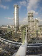 refinery plant in wide lens - stock photo