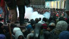 Police use gas against protesters Stock Footage
