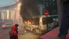 Вurning bus. Stock Footage