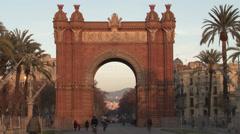 Barcelona - Catalonia - Spain - Monument - Arc de Triomf - HD 1920 X 1080P Stock Footage