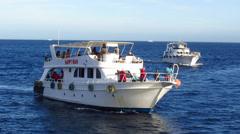 Motor yacht at open sea Stock Footage