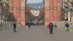 Barcelona - Catalonia - Spain - Monument - Arc de Triomf - HD 1920 X 1080P Stock Footage