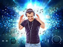 man with headphones, with notes all around him - stock illustration