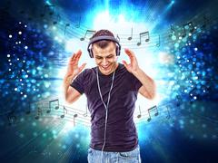man with headphones and notes all around him - stock illustration