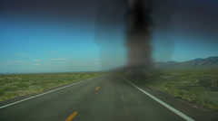 chasing tornado  storm chaser - stock footage