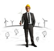 wind turbine energy project - stock photo