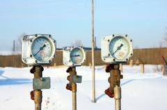 old gas manometer - stock photo