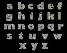 unique english alphabet made like collage of travel photos on a black backgro - stock photo