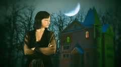 Halloween witch goth house woman gothic Stock Footage