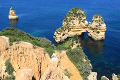 Rocky cliffs on the coast of the Atlantic ocean in Lagos, Algarve, Portugal - stock photo