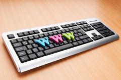 WWW letters on the keyboard - stock photo