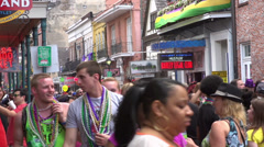 Overcrowded Bourbon Street during Mardi Gras Stock Footage