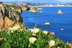 Rocky cliffs on the coast of the Atlantic ocean in Lagos, Algarve, Portugal Stock Photos