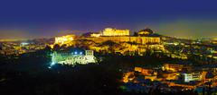 scenic overview of athens with acropolis - stock photo