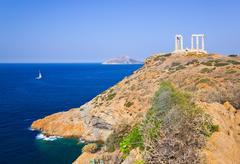 Poseidon Temple Cape Sounion lähellä Ateena, Kreikka Kuvituskuvat