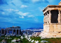 the porch of the caryatids in athens - stock photo