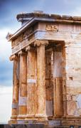 temple of athena nike close up at acropolis - stock photo