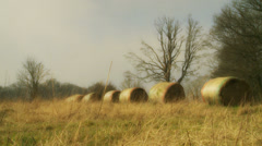 Countryside haystacks (dolly) Stock Footage