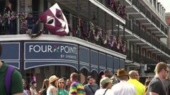 Four Points by Sheraton hotel on Bourbon Street tilt - stock footage
