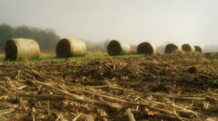 A line of haystacks in the countryside mist (dolly) Stock Footage