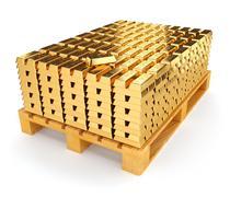 Pallet with bullion of gold - stock illustration