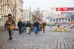 self defense group marching in kiev - stock photo