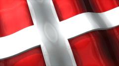 3D flag, Denmark, waving, ripple, Europe. Stock Footage
