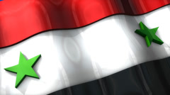 3D flag, Syria, waving, ripple, Africa, Middle East. Stock Footage