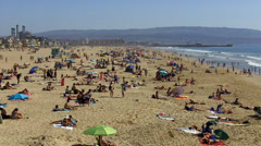 Southward View Of Beach At Hermosa Beach California Stock Footage