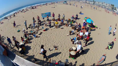 Ultra Wide View Of Drum Circle At Hermosa Beach California Stock Footage