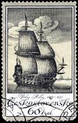 czechoslovakia - circa 1976: a stamp printed in czechoslovakia, shows old eng - stock photo