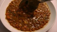Eating Lentil Soup Stock Footage