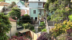 0727  Characteristic streets of the hills of Valparaiso Stock Footage