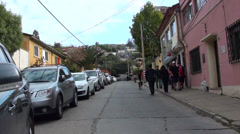 0731 Characteristic streets of the hills of Valparaiso Stock Footage