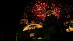The Guadalajara Cathedral Fireworks Stock Footage