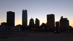 Stock Video Footage of Oklahoma City Skyline Dusk