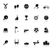 Stock Illustration of sport game athletic icons with reflect on white background