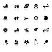 Extreme sport icons with reflect on white background Stock Illustration